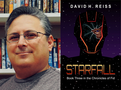 David Reiss author photo and Starfall cover image