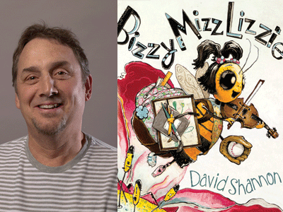 David Shannon author photo and Bizzy Mizz Lizzie cover image
