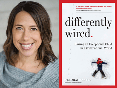 Deborah Reber author photo and Differently Wired cover
