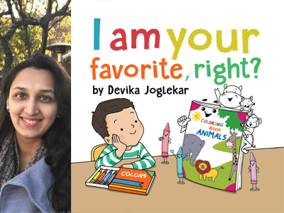 Devika Joglekar author photo and I Am Your Favorite, Right cover image