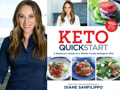 Diane Sanfilippo author photo and Keto Quickstart cover image