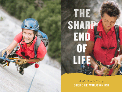 Dierdre Wolownick author photo and The Sharp End of Life cover image