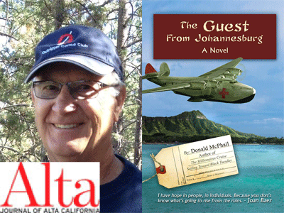 Don McPhail author photo and The Guest from Johannesburg cover image