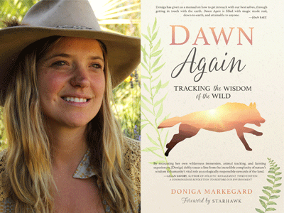 Doniga Markegard author photo and Dawn Again cover image
