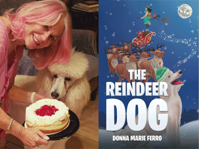 Donna Marie Ferro author photo and The Reindeer Dog cover image