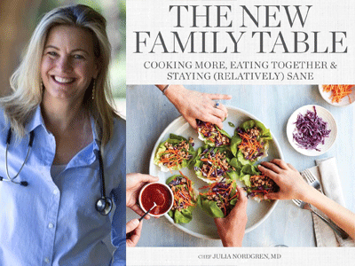Julia Nordgren author photo and The New Family Table cover image