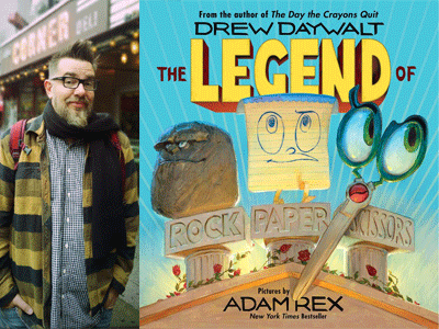 Drew Daywalt author photo and Legend of Rock Paper Scissors cover image