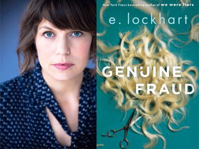 E Lockhart author photo and Genuine Fraud cover image
