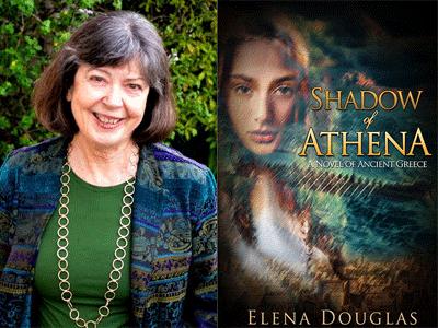 Elena Douglas author photo and Shadow of Athena cover image