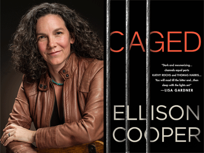 Ellison Cooper author photo and Caged cover image