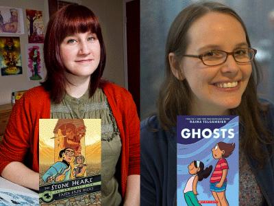 Faith Erin Hicks, Raina Telgemeier author photos and The Stone Heart, Ghosts cover images