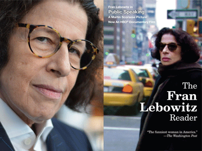 Fran Lebowitz author photo and The Fran Lebowitz Reader cover image