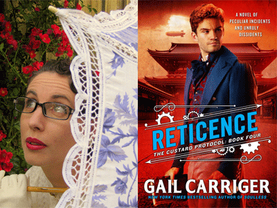 Gail Carriger author photo and Reticence cover image