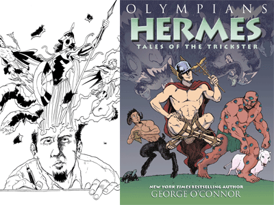 George O'Connor self portrait and Olympians: Hermes cover image