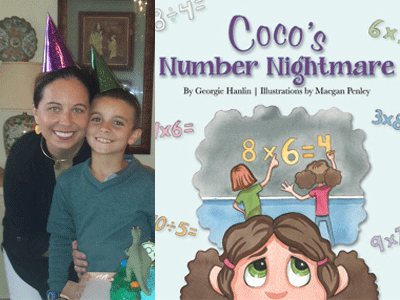 Georgie Hanlin author photo and Coco's Number Nightmare cover image