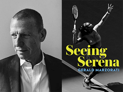 Gerald Marzaroti author photo and Seeing Serena cover iage