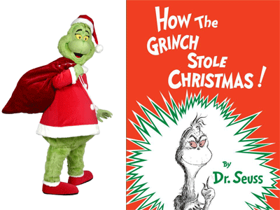 Grinch costume character and How the Grinch Stole Christmas cover image
