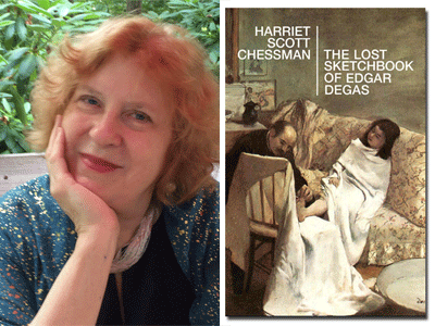 Harriet Scott Chessman author photo and The Lost Sketchbook of Edgar Degas cover image