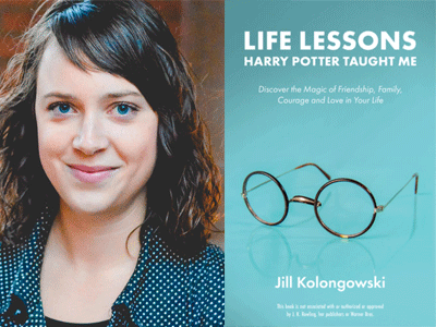 Jill Kolongowski author photo and Life Lessons Harry Potter Taught Me cover image