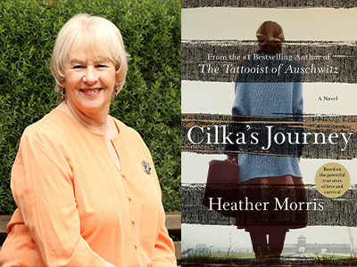 Heather Morris author photo and Cilka's Journey cover image