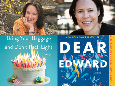 Helen Ellis and Ann Napolitano author photos and cropped cover images of Bring Your Baggage and Don't Pack Lite, as well as Dear Edwards: A Novel