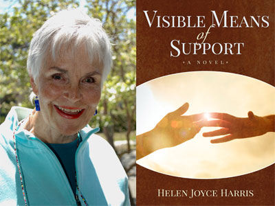 Helen Joyce Harris author photo and Visible Means of Support cover image