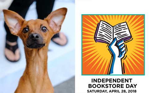 Nova the puppy photo and Independent Bookstore Day logo