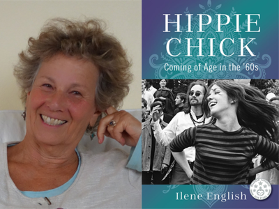 Ilene English author photo and Hippie Chick cover image