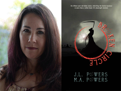 JL Powers author photo and Broken Circle cover image