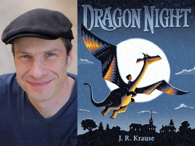 JR Krause author photo and Dragon Night cover image