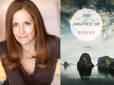 Jackie Townsend author photo and The Absence of Evelyn cover image