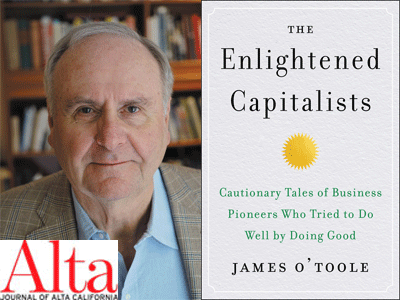 James O'Toole author photo and The Enlightened Capitalists cover image