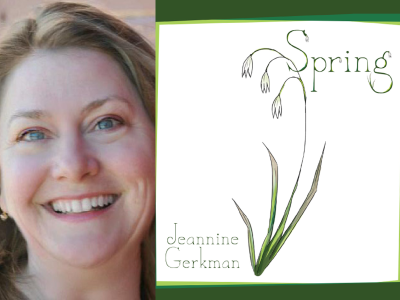 Jeannine Gerkman author photo and Spring cover image