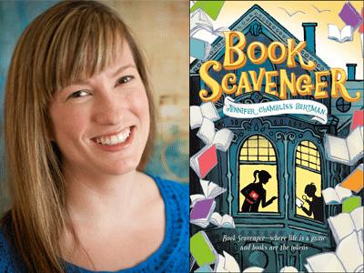 Jennifer Chambliss Bertman author photo and Book Scavenger cover image
