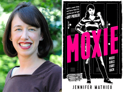 Jennifer Mathieu author photo and Moxie cover image