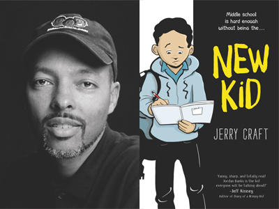 Jerry Craft author photo and New Kid cover image