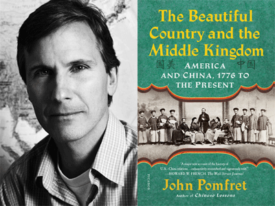 John Pomfret author photo and The Beautiful Country and the Middle Kingdom cover image