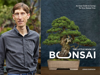 Jonas Dupuich author photo and The Little Book of Bonsai cover image