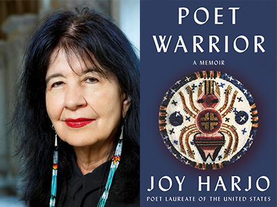 Joy Harjo author photo and Poet Warrior cover image
