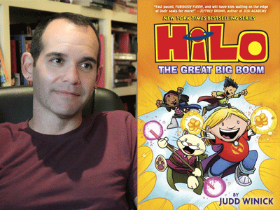 Judd Winick author photo and HiLo: The Great Big Boom cover image