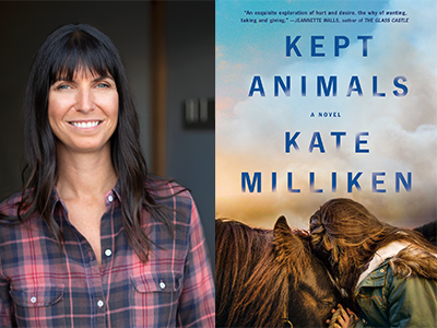 Kate Milliken author photo and Kept Animals cover image
