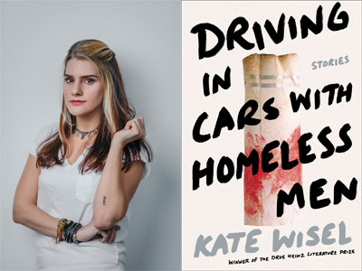 Kate Wisel author photo and Driving in Cars with Homeless Men cover image