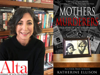 Katherine Ellison author photo and Mothers & Murderers cover image
