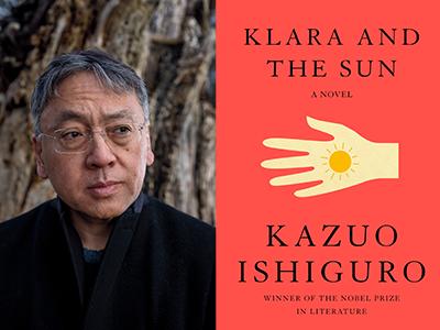 Kazuo Ishiguro author photo and Klara and the Sun cover image