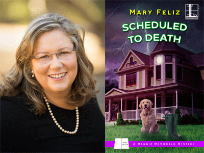 Mary Feliz author photo and Scheduled to Death cover image