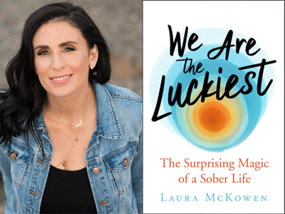 Laura McKowen author photo and We Are the Luckiest cover image
