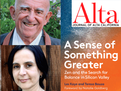 Les Kaye and Teresa Bouza author photos and A Sense of Something Greater cover image