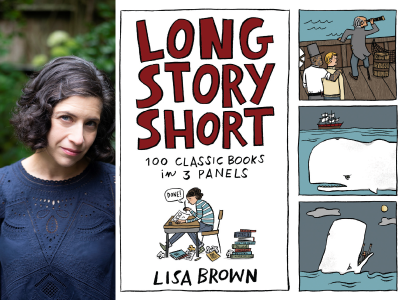 Lisa Brown author photo and Long Story Short cover image