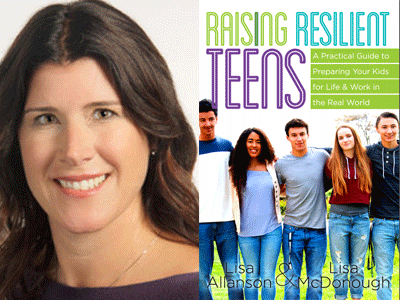 Lisa McDonough author photo and Raising Resilient Teens cover image