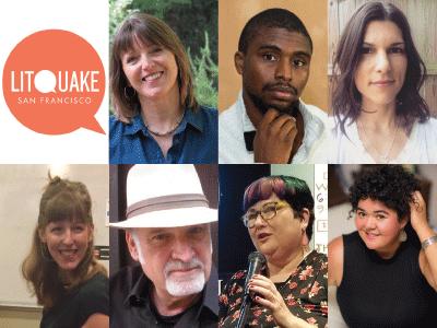 Litquake logo and author photos